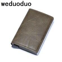 Weduoduo Smart Anti Id Credit Card Holder Rfid Blocking Mini Wallet Leather Aluminum Metal Purse Case