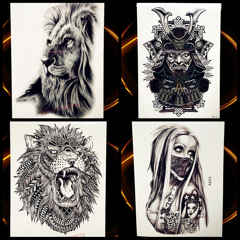 Africa Serengeti Lion Temporary Tattoo Indian Tribal Mighty Lion Warrior Waterproof Flash Tattoo Sticker Black Tatoo Men Women