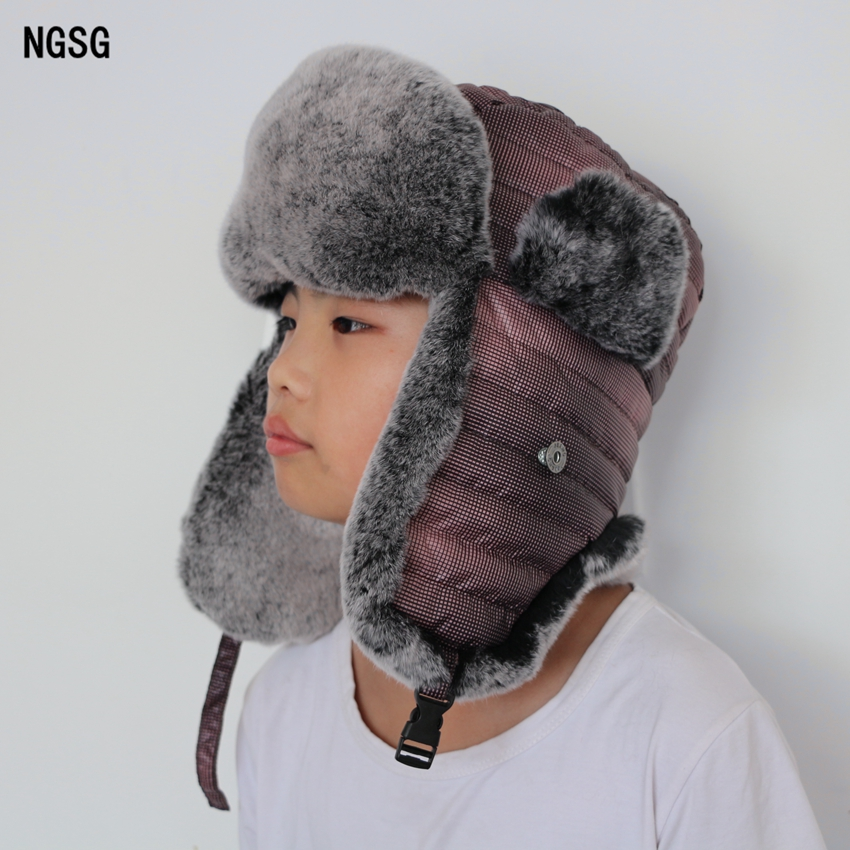 2017 Nieuwe Rabbit Hair Hat Fur Hats For Women Parenting Family Bomber Hats Winter Winddicht Warm Ski Cap Protect The Ears