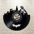 2017 Hot Vinyl Record Design Wall Clock Classic Batman Arkham City Logo Wall Clocks Quartz Mechanism Black Vinyl Record Reloj