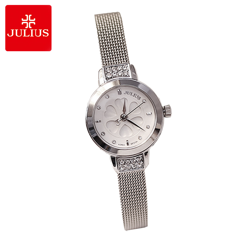 Julius Lady Women's Watch Japan Quartz Hours Fine Fashion Clock Bracelet Steel Band Heart Clover Rhinestone Girl Gift Box 765 julius lady women s watch japan quartz couple hours fine fashion clock stainless steel band girl birthday lovers gift box