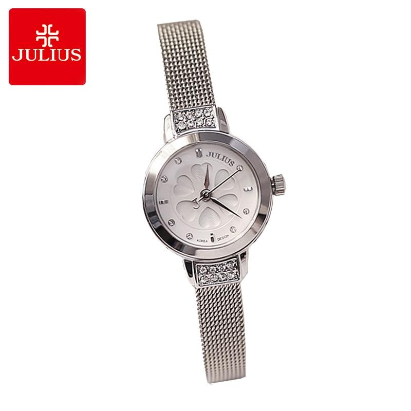 Julius Lady Women's Watch Japan Quartz Hours Fine Fashion Woman Clock Bracelet Steel Heart Clover Rhinestone Girl's Gift Box цена