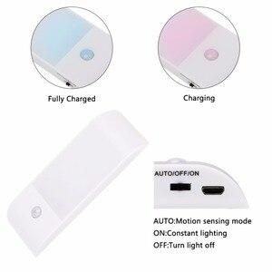 Image 2 - SMD LED Sensor Light USB Rechargeable Under Cabinet Lighting Magnet PIR Motion Sensor Night Light For Closet Wardrobe Kitchen