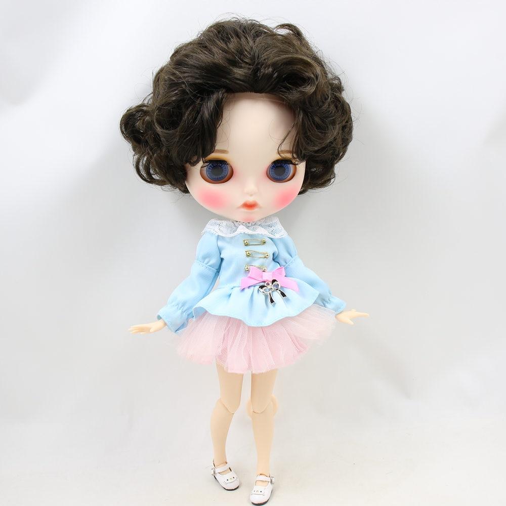 Oyuncaklar ve Hobi Ürünleri'ten Bebekler'de BUZLU Çıplak Blyth Doll No. BL950 Siyah saç Oyma dudaklar Mat özelleştirilmiş yüz Ortak vücut 1/6 bjd'da  Grup 1
