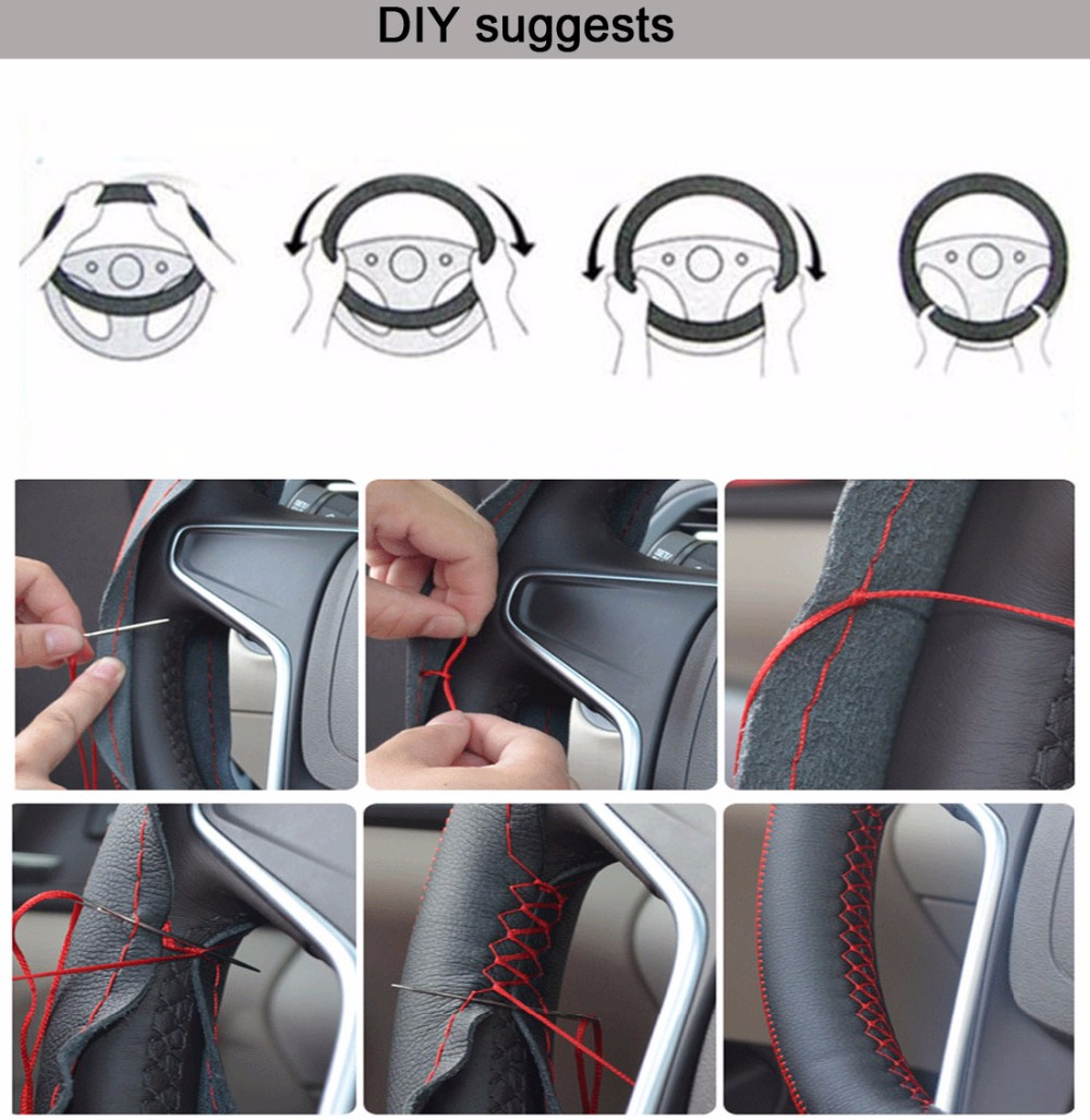 LUNDA Hot Sale Universal Anti-slip Artificial Breathable PU Leather DIY Car Steering Wheel Cover Case With Needles and Thread 3