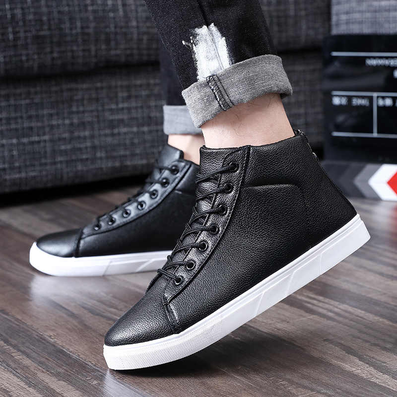 2018 г. Весенняя модная мужская обувь из искусственной кожи, повседневная обувь на молнии, высокие ботильоны на шнуровке Мужская обувь черный цвет, большие размеры 39-44