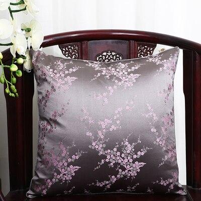 Чехол для подушки для автомобильного стула с цветами 40x40 см 45x45 см 50*50 60*60 китайские красочные диванные Декоративные Чехлы для подушек, шелковая атласная наволочка - Цвет: Серый