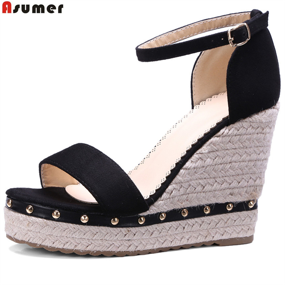 ASUMER Platform Wedges Shoes Sandals Buckle High-Heels Black Casual Fashion Woman Pink