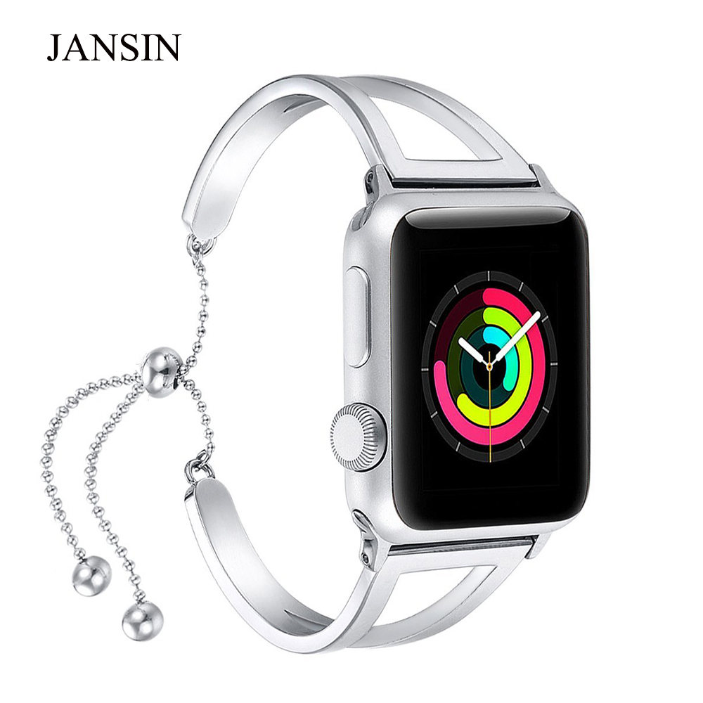 JANSIN Women bands For Apple Watch 38mm 42mm 40mm 44mm watch band Adjustable Stainless Steel bracelet iWatch band Series 1 2 3 4 20 colors sport band for apple watch band 44mm 40mm 38mm 42mm replacement watch strap for iwatch bands series 4 3 2 1