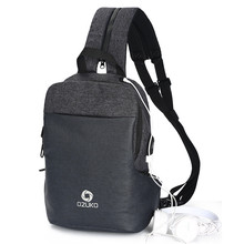 OZUKO New Chest Pack Men Casual Shoulder Crossbody Bag USB Charging Multifunction Travel waterproof Messenger
