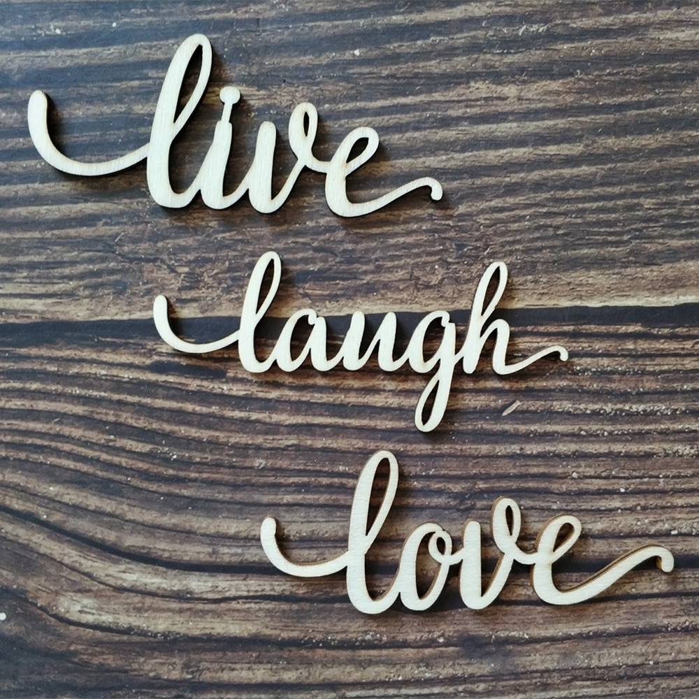 12pcs Live Laugh Love Wood Laser Cut Sign Art Wall Decor Decoration Quote Wooden Anniversary Wedding In Party DIY Decorations