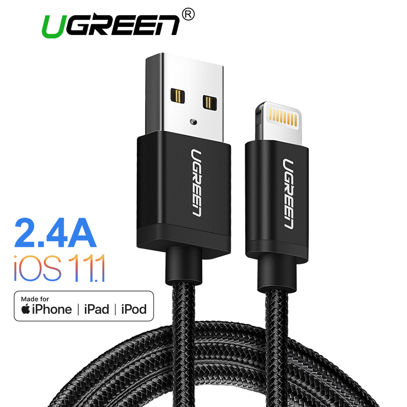 Ugreen MFi USB Cable for iPhone 8 X 7 6S Plus Fast Charging Lightning Cable for iPhone SE 5C USB Data Cable Phone Charger Cable
