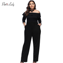 Party Lady New Plus Size Jumpsuits For Women 2018 Summer Women Rompers  Combination Female Sexy Loose Print Full Length Black -D