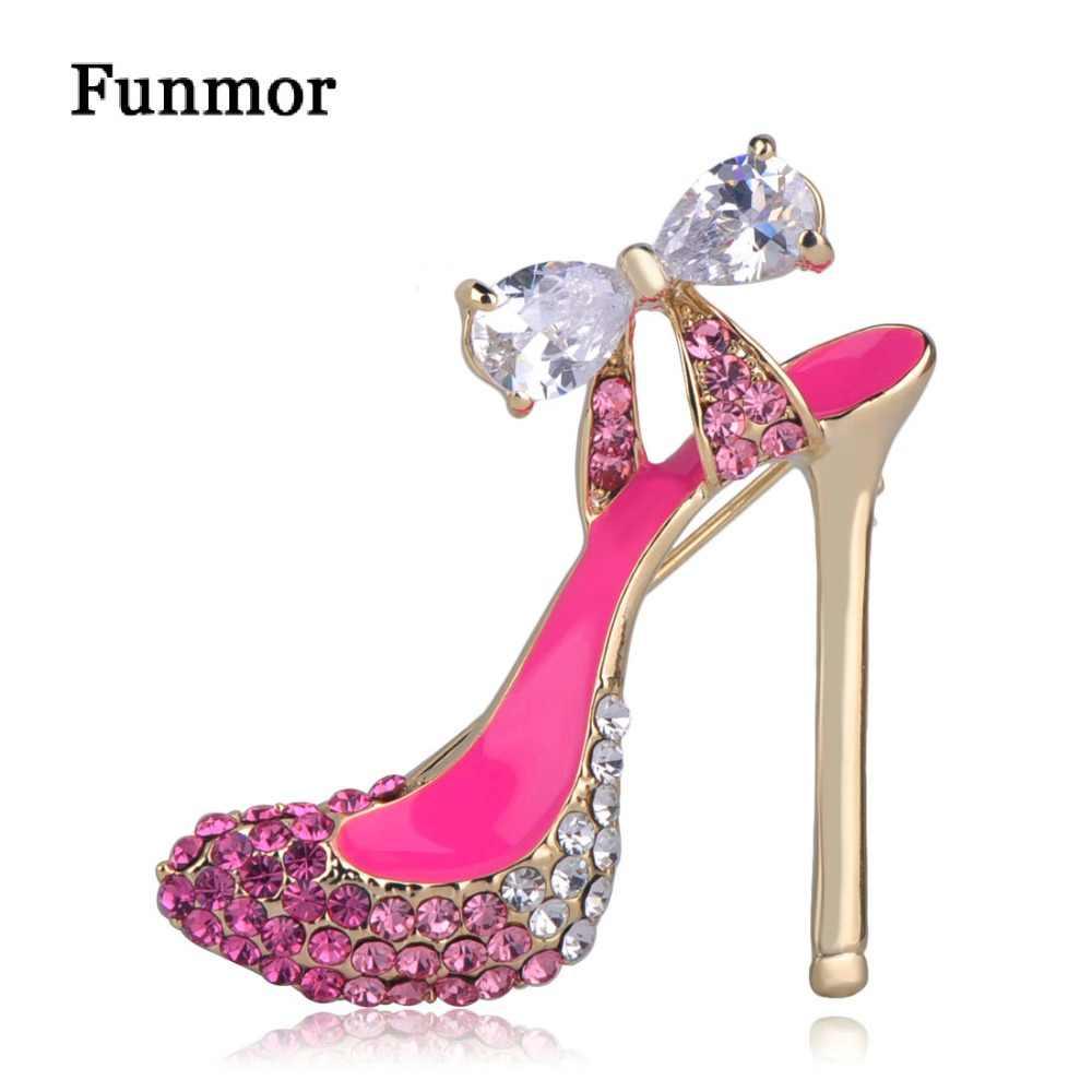 Funmor Pink Sepatu Hak Tinggi Bros untuk Wanita Gadis Zirkon Busur-Simpul Lencana Pesta Perhiasan Jilbab Pin Stereoscopic Enamel korsase
