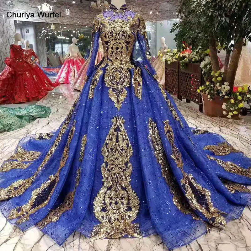 LSS436 Blue Evening Dresses With Golden Sequins High Neck Long Sleeves Muslim Party Dress Long Ball Gown Ladies Shiny Dress 2019