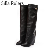 0c274f4c017f Silla Rulers Belt buckle Long barrel leisure Knee high Boots Women Pointed  Toe Leather Wedge increase