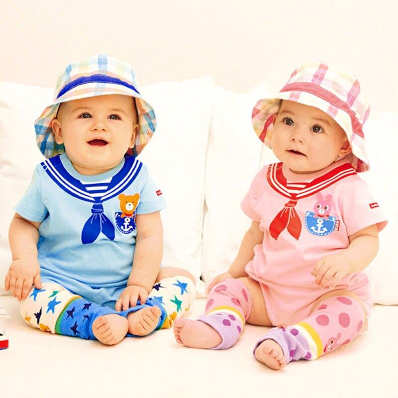 Estilo contrato Bebé 100% Algodón Mamelucos de manga corta Ropa clásica para bebés y niñas Monos para bebés Bebe Roupas para niños HB064