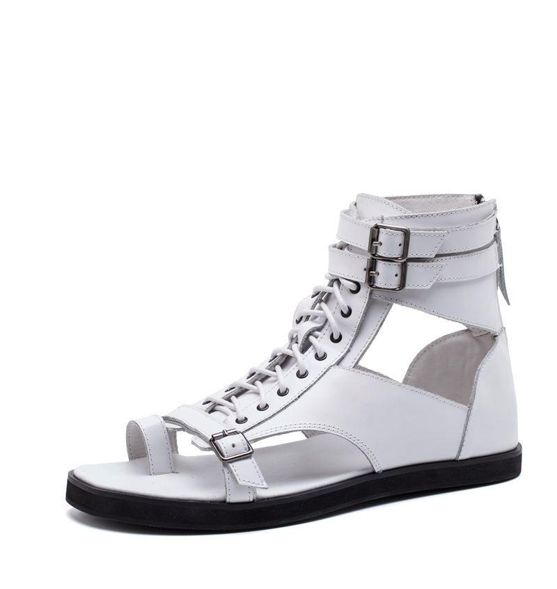 Branco preto flip flops tornozelo gladiadores apartamentos fivela de couro genuíno rendas até roma estilo punk verão sandálias ao ar livre sapatos casuais - 6