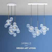 Post Modern Creative Clear Glass Bubble Ball Led Pendant Lamp for dining room living room bar LED Glass Hang Lamp