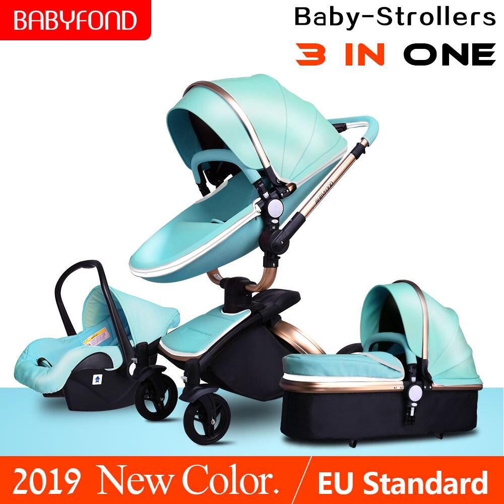 Marca passeggini per bambini 3 in 1 di alta qualità di cuoio DELL'UNITÀ di elaborazione del bambino di trasporto Eco-amico forte luce carrozzina del bambino 0 -4 anni appena nato regali