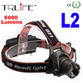 6000 Lumens zoomable Headlamp CREE XM-L2 LED Headlight Retractable Zoom Headlight