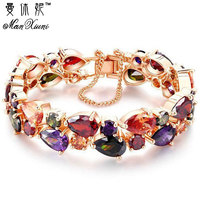 Manxiuni Top Quality Bracelet For Women Pulseira Feminina Gold Pleated Clear Cubic Zircon Bracelets Bangles Bride