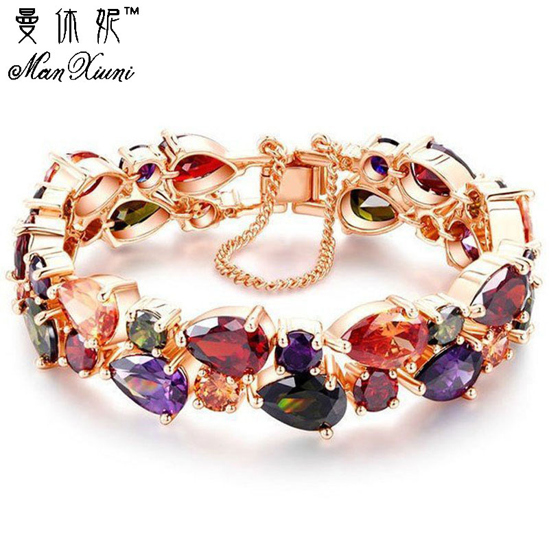 Manxiuni Top Quality Bracelet For Women Pulseira Noiva Feminina Gold Pleated Clear Cubic Zircon Bracelets Bangles Bride Gift