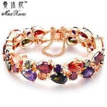 Manxiuni Top Quality Bracelet For Women Pulseira Noiva Feminina Gold Pleated Clear Cubic Zircon Bracelets Bangles Bride Gift