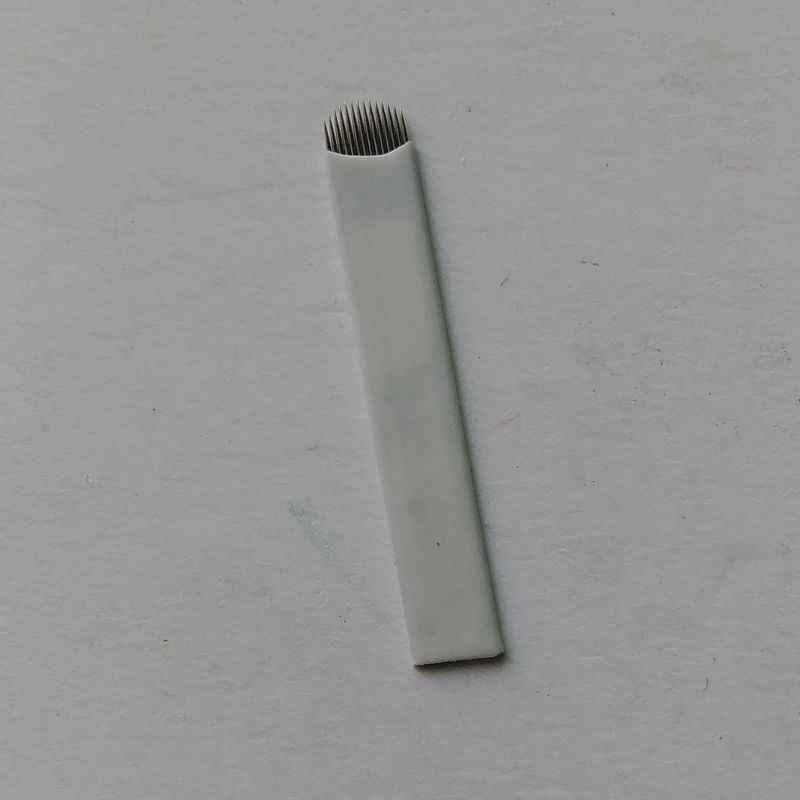 ฟรีแล้ว 100 ชิ้น 18 Pin สแตนเลส 3D เข็มสักสำหรับเย็บปักถักร้อยคิ้วถาวรเข็มแต่งหน้าใบมีด