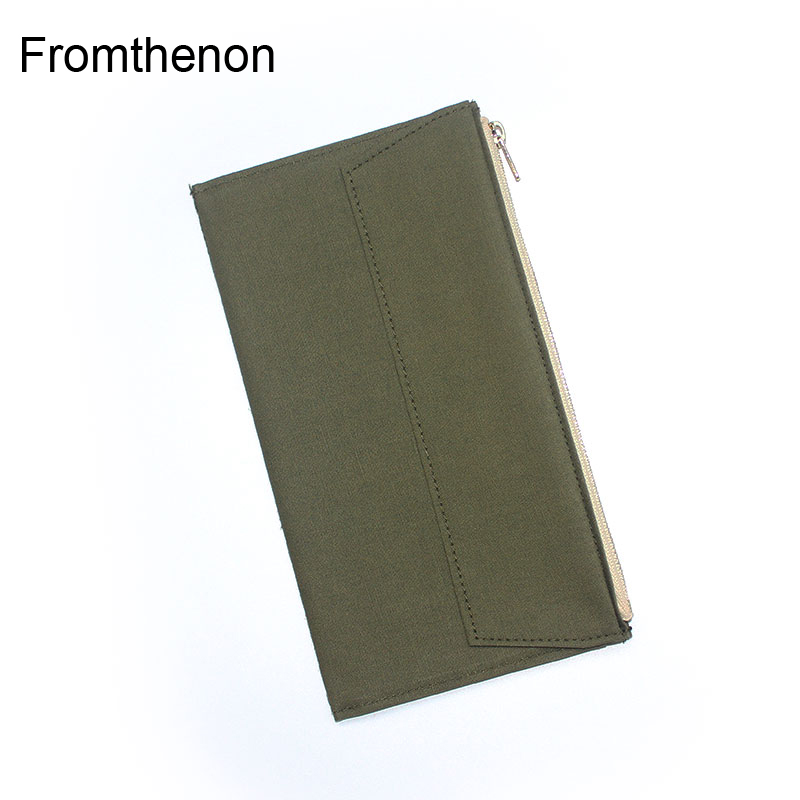 Fromthenon Card Holder Storage Bag For Midori Travelers Notebook Vintage Olive Green Canvas Zipper Pocket Planner Standard Size цена 2017
