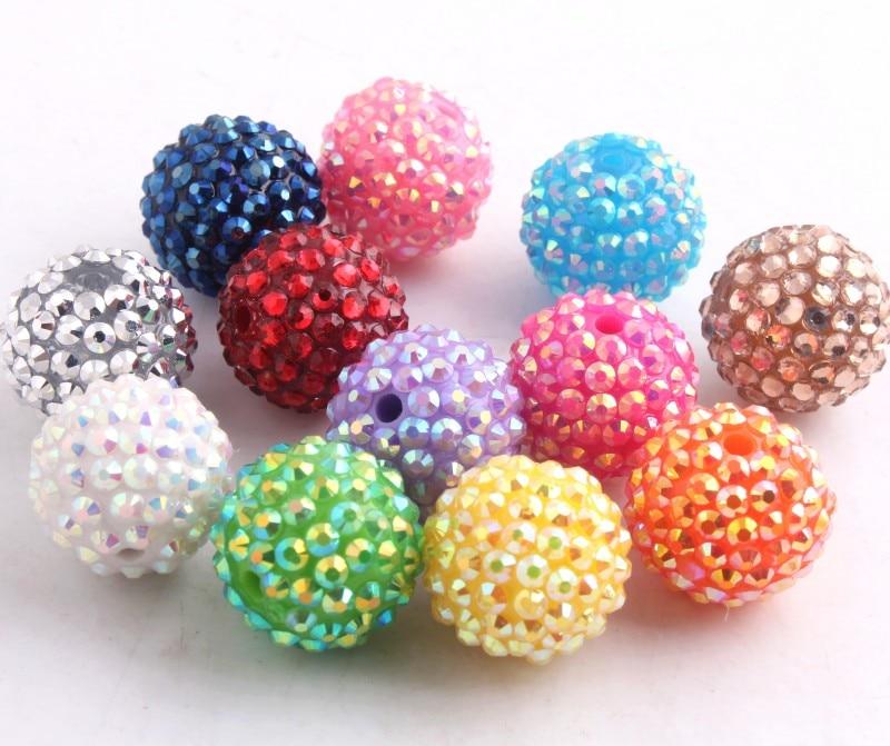 Kwoi Vita Handmade  Colorful 20mm/10mm To 26mm Chunky Resin  Rhinestone Beads Ball For Kids Girls  Jewelry Making