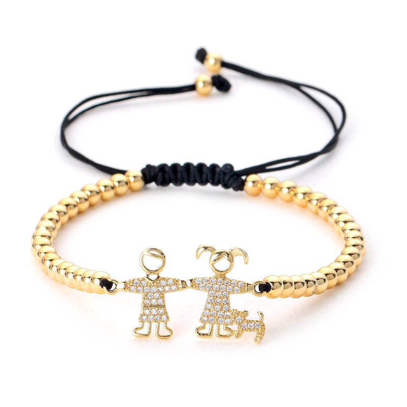 Poshfeel Cz Boys/girls/dog Family Charm Bracelets with 4mm Cooper Beads Jewelry Couple Gift Pulsera MBR180067