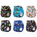 Christmas Diaper Baby Cloth Pocket Diaper Pants One Size for Newborn to 17kgs babies (Pack of 6 Pieces)