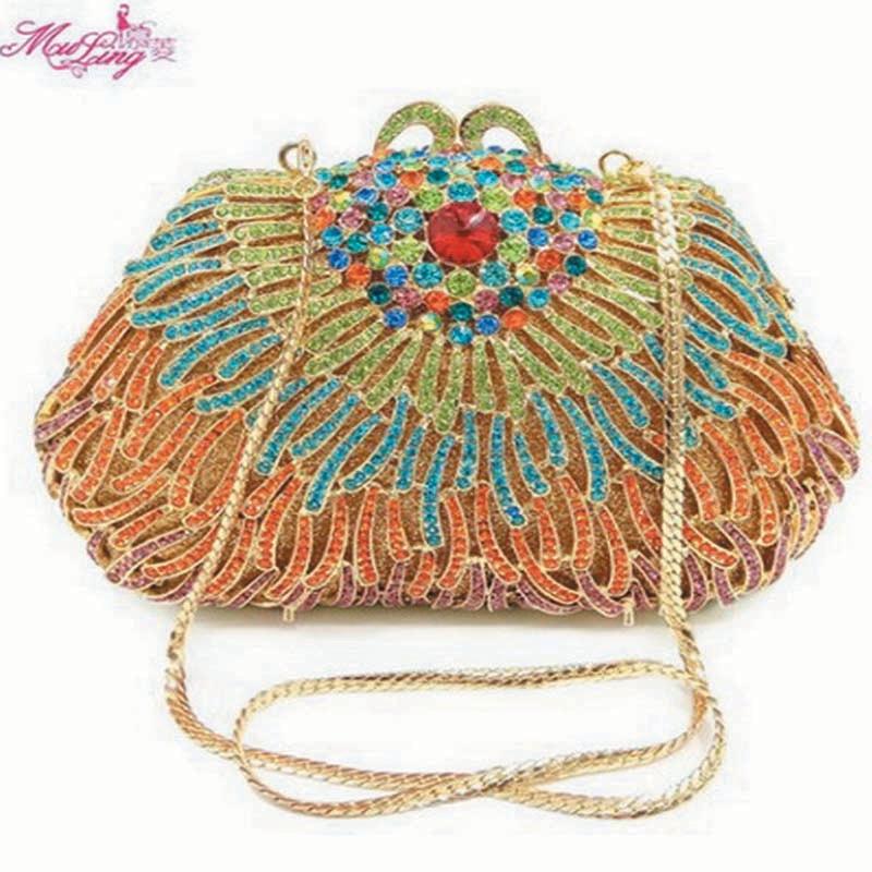 цена на Diamond Package Dinner Evening Banquet Purses Evening Crystal Women Wallets Ocean Crabs Design Popular Vintage bag Packages Gold