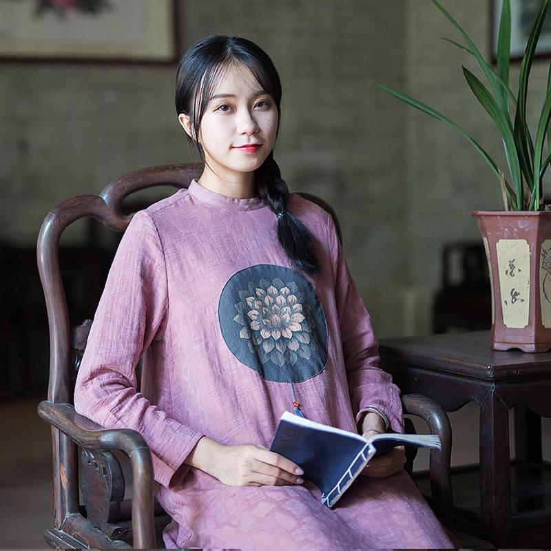 Impression Épaississement Robe Manches Femmes Rétro Longue Lin Section À Automne Hiver Style Noir Littéraire Basant Longues Coton rose Chinois tshrdQ