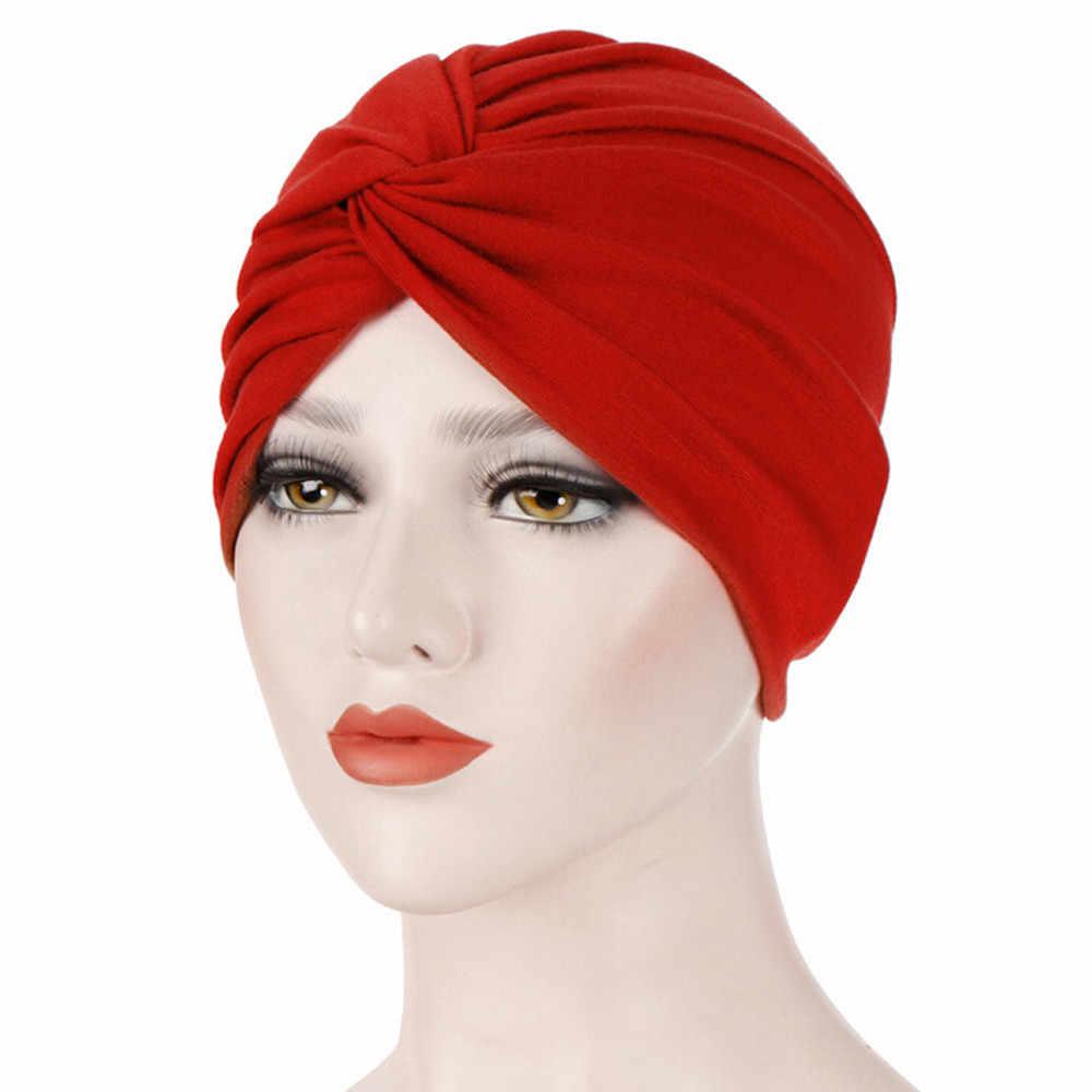 النساء القطن تنفس قبعة جديد المرأة الشتاء قبعة عمامة غطاء رأس القماش مطاطا قبعة السيدات إكسسوارات الشعر وشاح إسلامي قبعة #38