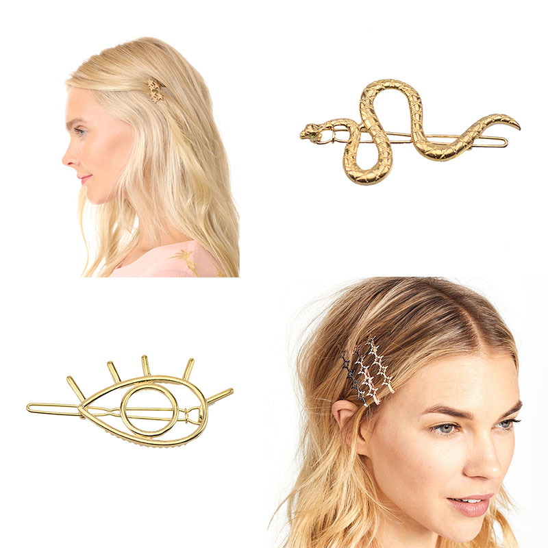 2019 Hot Sale Women Girls Elegant Gold Color Alloy Eye Star Hair Clips Barrettes Hairpins Female Hair Styling Accessories F007