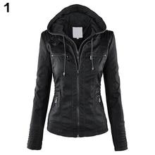 Женская мода, Конвертируемых Воротник Искусственная Кожа Пальто Съемный Капюшоном Куртки