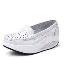 2016 Летом натуральная кожа вырез дышащий качели обувь белая медсестра обувь клинья повысить обувь мать обувь сандалии