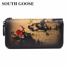 SOUTH GOOSE Women Wallet Top Quality Genuine Leather Long Cl