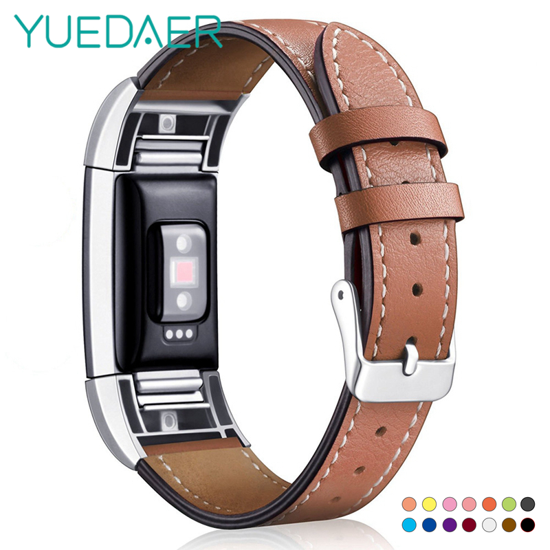 YUEDAER Leather Strap For Fitbit Charge 2 Band Replacement Smart Fitness Watchband Wrist Strap Metal Frame For Fitbit Charge2