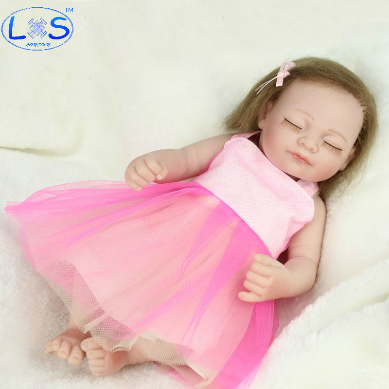 LONSUN Long Haired Silicone Reborn Dolls Hobbies Stuffed Toys Accessories Dolls Bedtime Early Education Girl Toys Christmas Gift