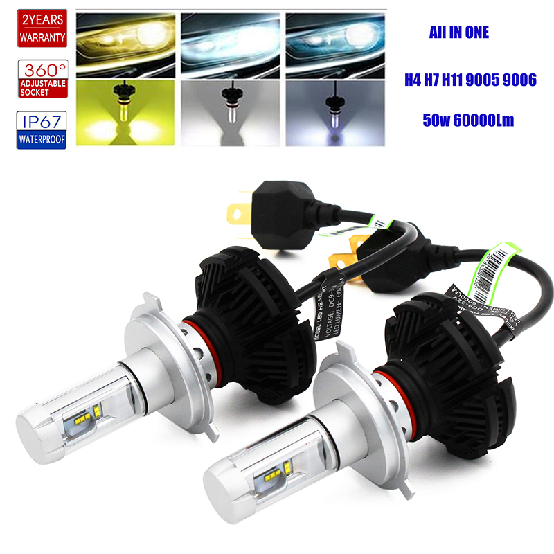 H4 <font><b>H7</b></font> H8 H9 H11 9005 9006 HB3 HB4 H16 JP Car <font><b>Led</b></font> <font><b>Headlight</b></font> Bulb Fog Lamp Auto Headlamp Conversion Kit 6000K White High Low Light image