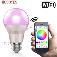 AC85 265V E27 7.5W Smart Wifi Bulb RGB White Led bulb Wireless remote controller lamp led light Dimmmable bulbs for IOS Android