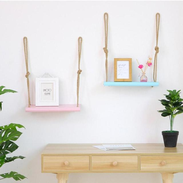 2 Layer Creatieve Thuis Touw Opknoping Decoratie Plank Woonkamer ...