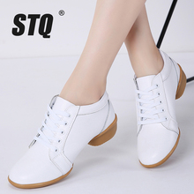 STQ 2020 Winter Women Platform Shoes Female Genuine Leather Lace Up Flat Oxfords Shoes For Women Middle Heel Dance Shoes 8236