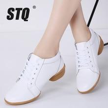 STQ 2020 zimowe damskie buty na platformie damskie oryginalne skórzane zasznurowane płaskie buty oksfordzie dla kobiet buty na średnim obcasie 8236
