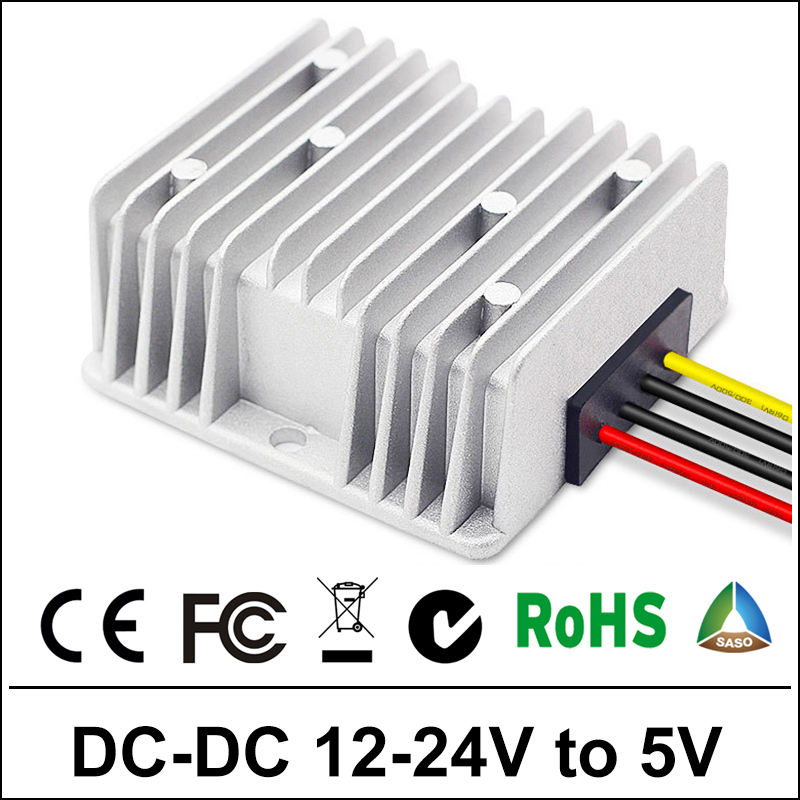 Power Supply Converter DC/DC Step-down 12V/24V TO 5V 5A10A25A30A Waterproof Control Car Module Auto Protection Size 66*60*22mm