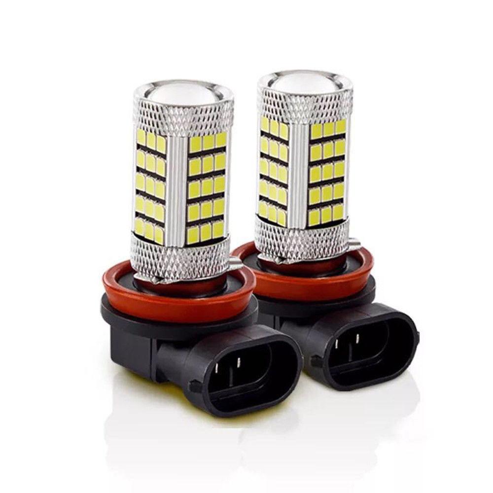 2Pcs H11 H8 66 SMD LED White 2835 Canbus Error Free Fog Light Bulb 6000K