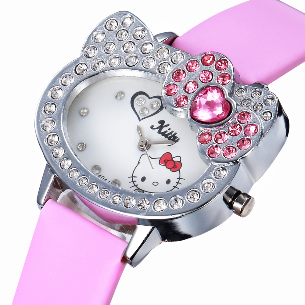 Lovely Cat Cartoon Pink Rhinestone Watches Clock Children Quartz Girl Wrist Kids Child Clock Cute Leather Relogio Enfant Girl